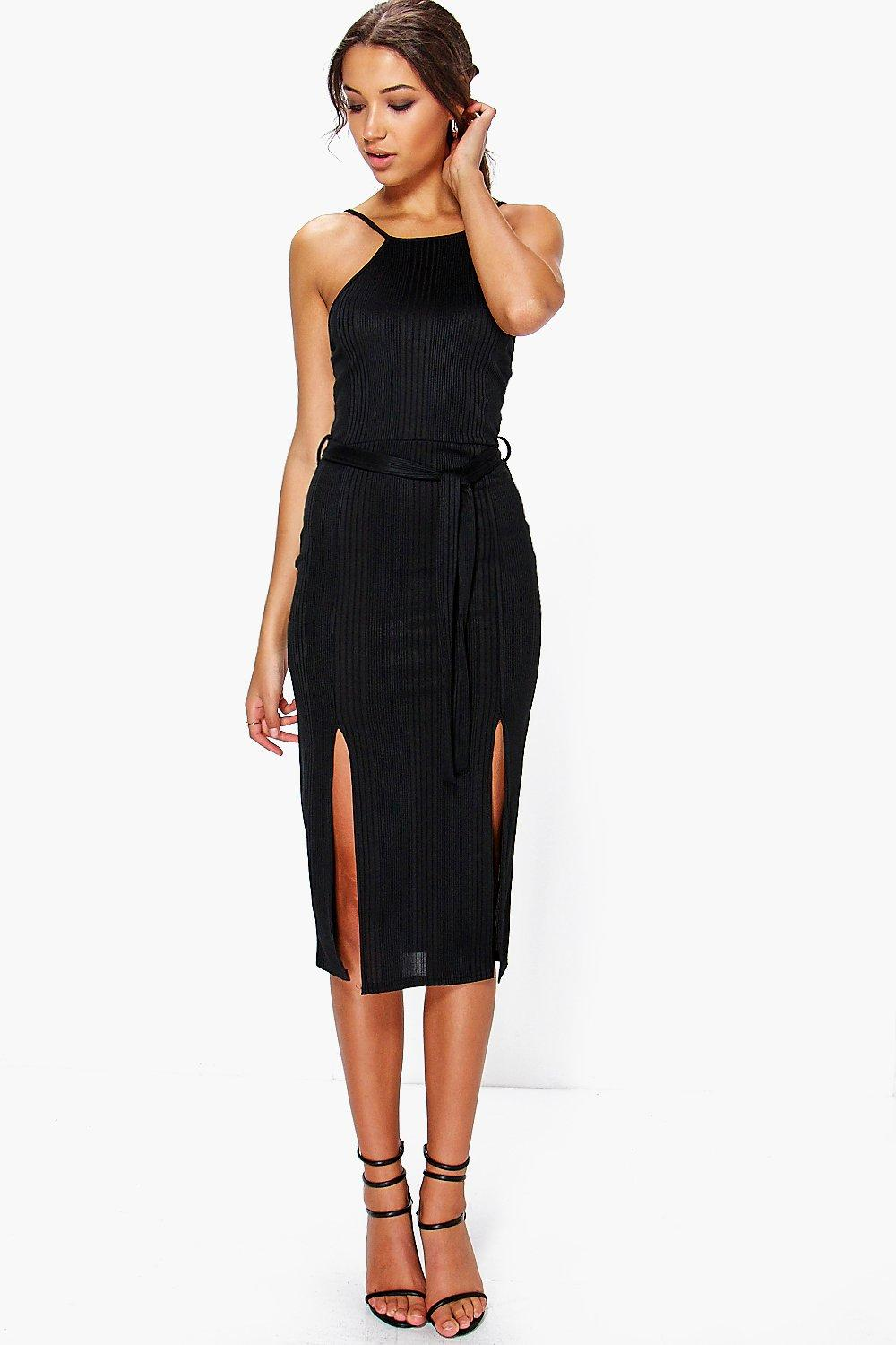 Tall Katy Ribbed Tie Waist Front Split Dress