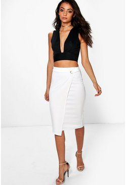 Tall April Wrap Front Buckle Midi Skirt