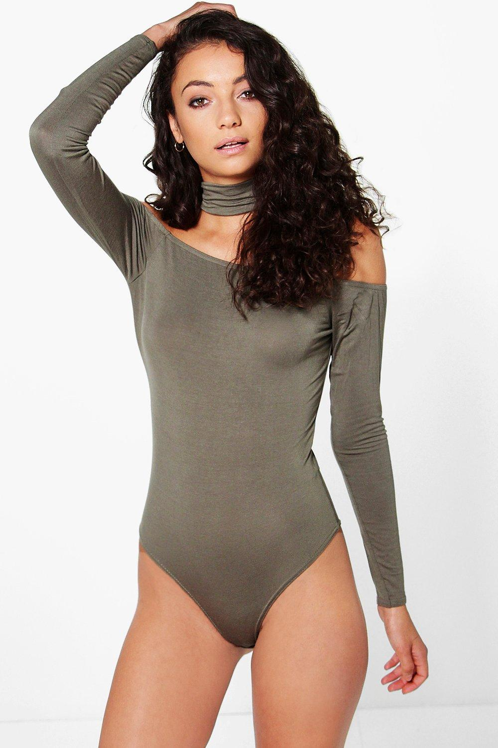Tall Karina Long Sleeve Chocker Neck Bodysuit
