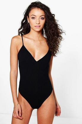 Tall Rachel Ribbed Plunge Bodysuit