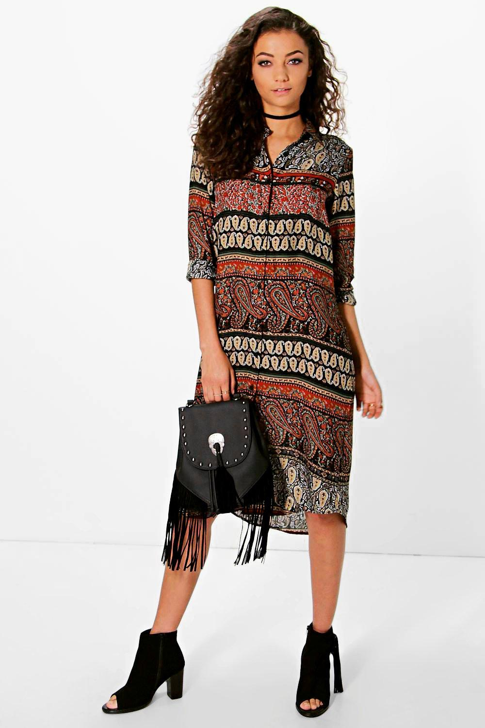Tall Delia Paisley Printed Shirt Dress