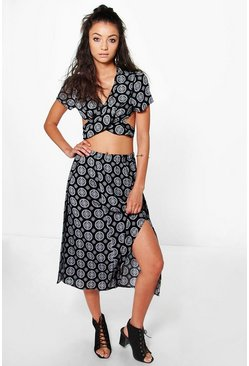 Tall Fumi Paisley Print Cut Out Co-ord Set