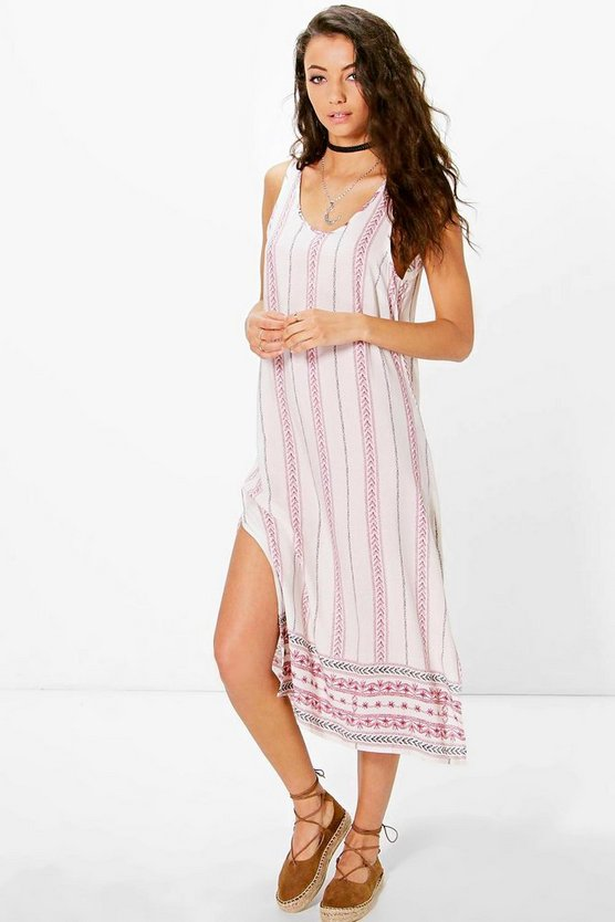 Tall Sarah Border Print Column Dress