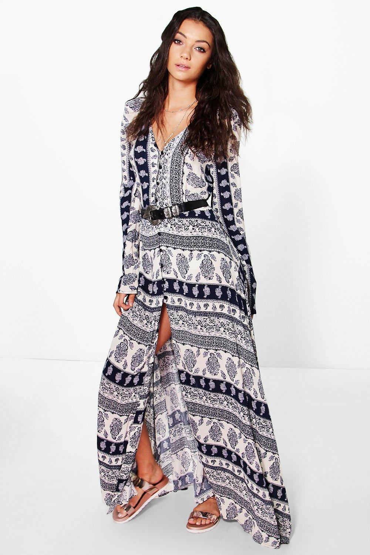 Tall Carla Paisley Printed Button Maxi Dress