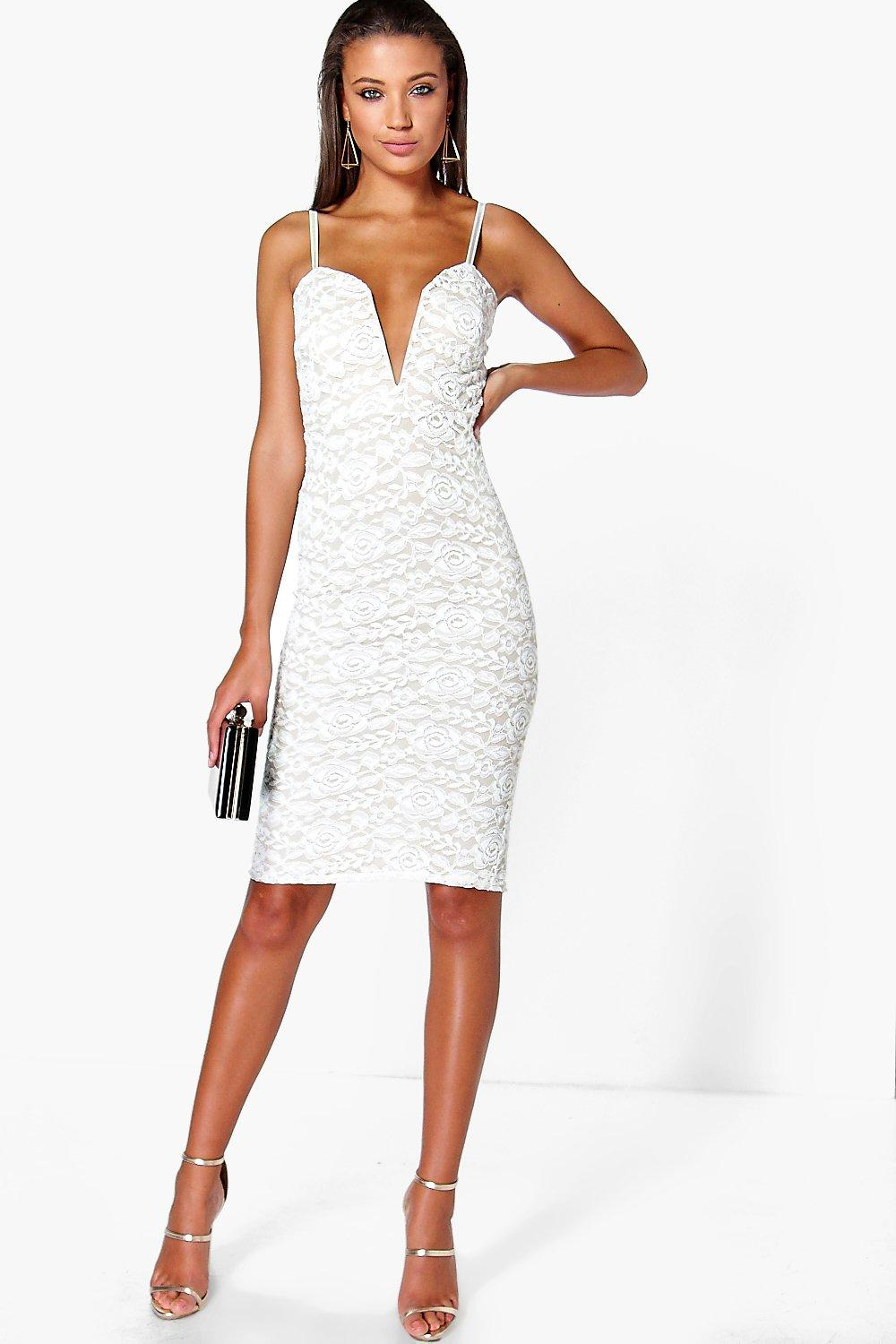 Tall Nadia Lace Plunge Midi Dress
