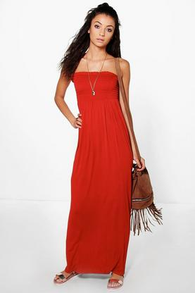 Tall Ivy Shirred Bandeau Maxi Dress
