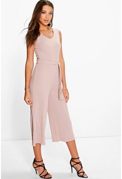 Tall Naomi Ribbed Tie Front Culotte Jumpsuit