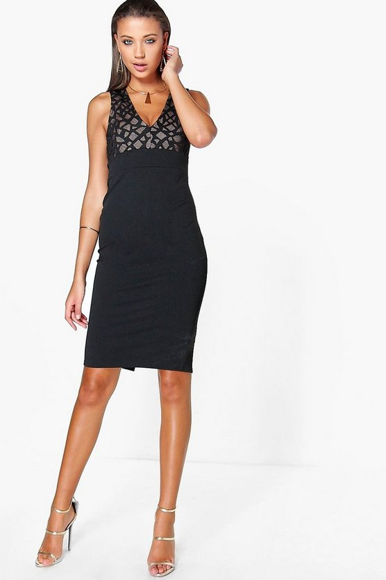 Tall Polly Plunge Mesh Detail Midi Bodycon Dress