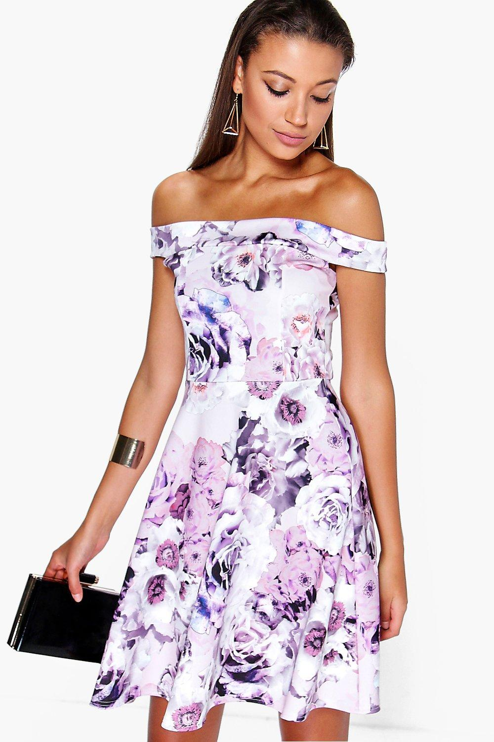 Tall Mila Off The Shoulder Floral Print Skater Dress