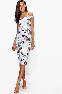 Tall Rosie Off The Shoulder Floral Print Midi Bodycon Dress