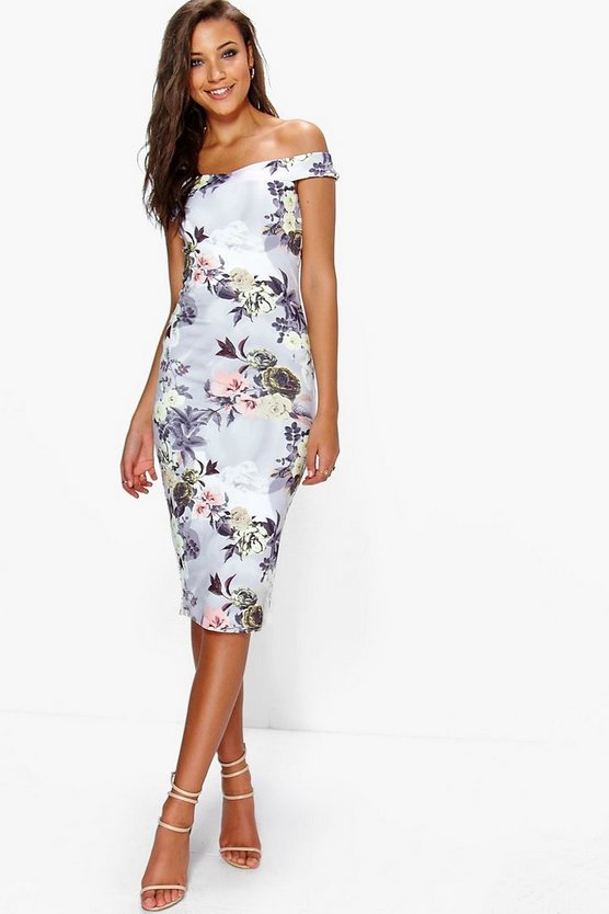 Tall Off The Shoulder Floral Print Midi Bodycon Dress