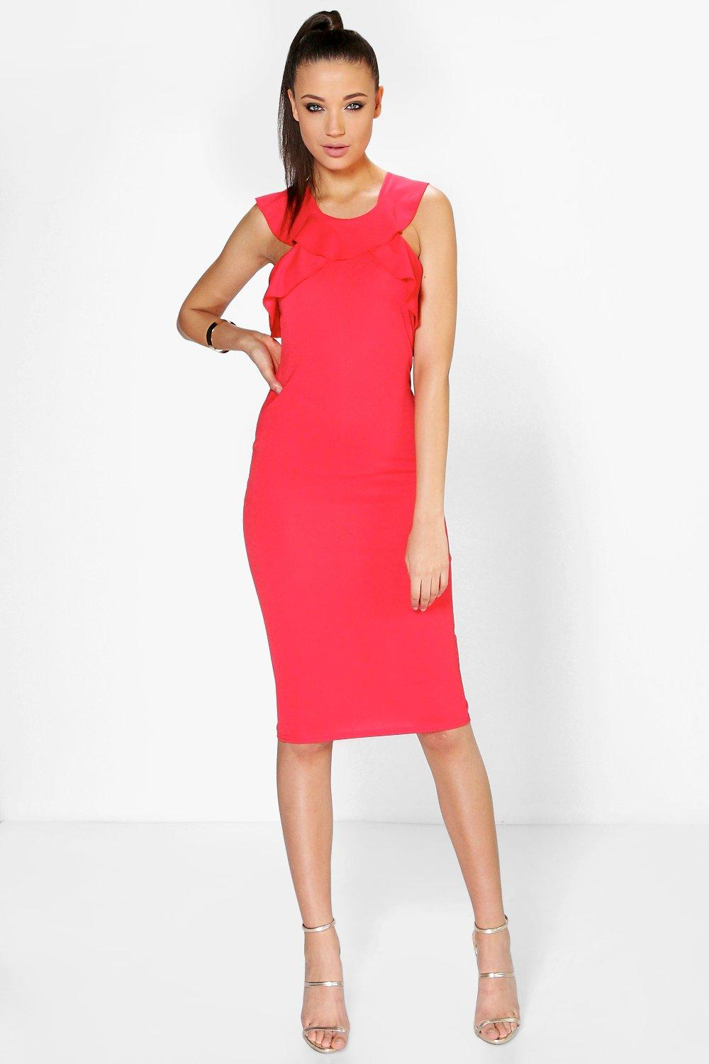 Tall Petal Frill Neckline Midi Dress
