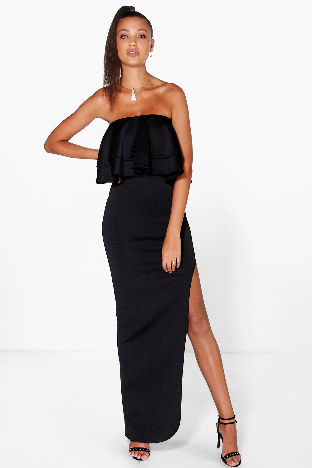 Tall Marni Frill Thigh Split Scuba Maxi Dress