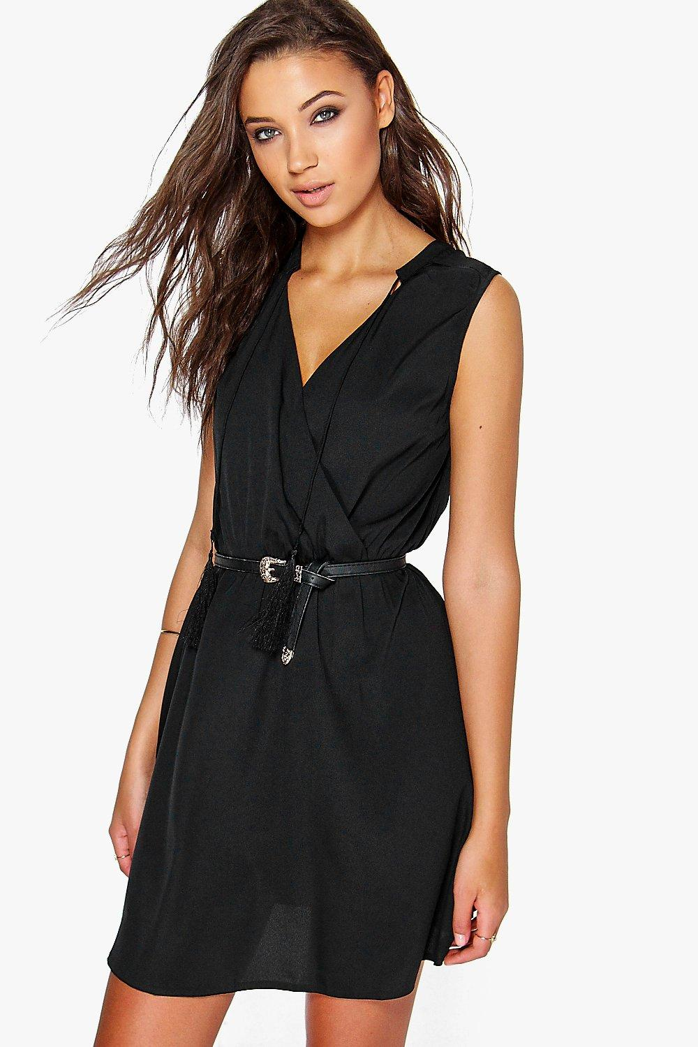 Tall Monique Tassel Neck Woven Sleeveless Dress