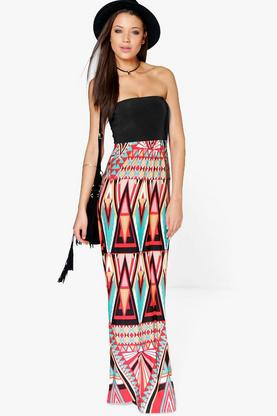 Tall Lani Bandeau Printed Maxi Dress