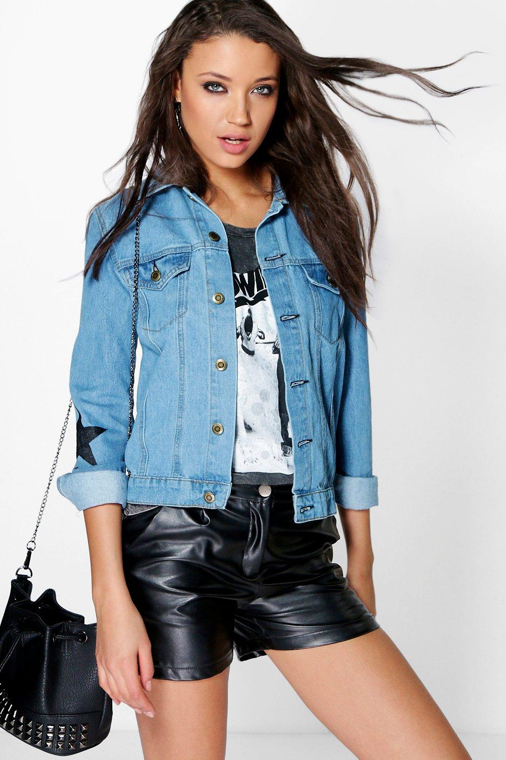 Tall Gigi Star Print Denim Jacket