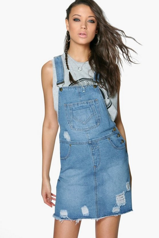 Tall Ella Denim Ripped Dungaree Dress