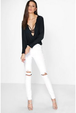 Tall Mika White Ripped Skinny Jean