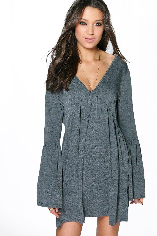 Boohoo Womens Tall Millie V Neck Swing Dress Ebay