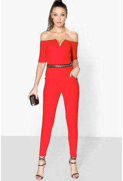 Tall Mila Chain Trim Off The Shoulder Jumpsuit