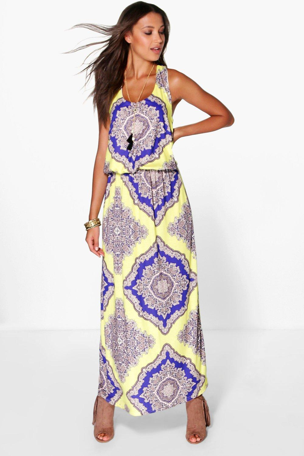 Tall Flora Neon Paisley Twist Back Maxi Dress