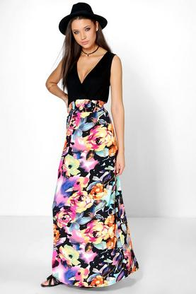 Tall Millie Rose Print Maxi Dress