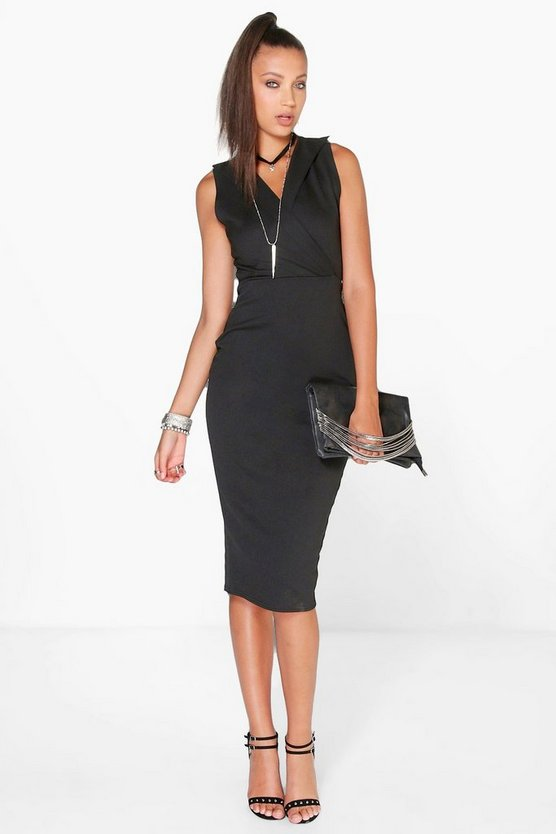 Tall Ria Collar Plunge Midi Scuba Dress