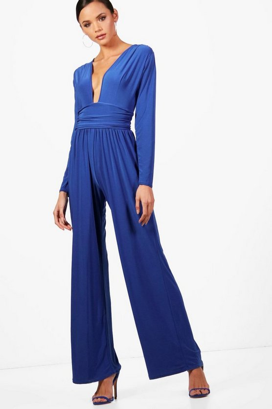 Tall Plunge Slinky Wide Leg Jumpsuit