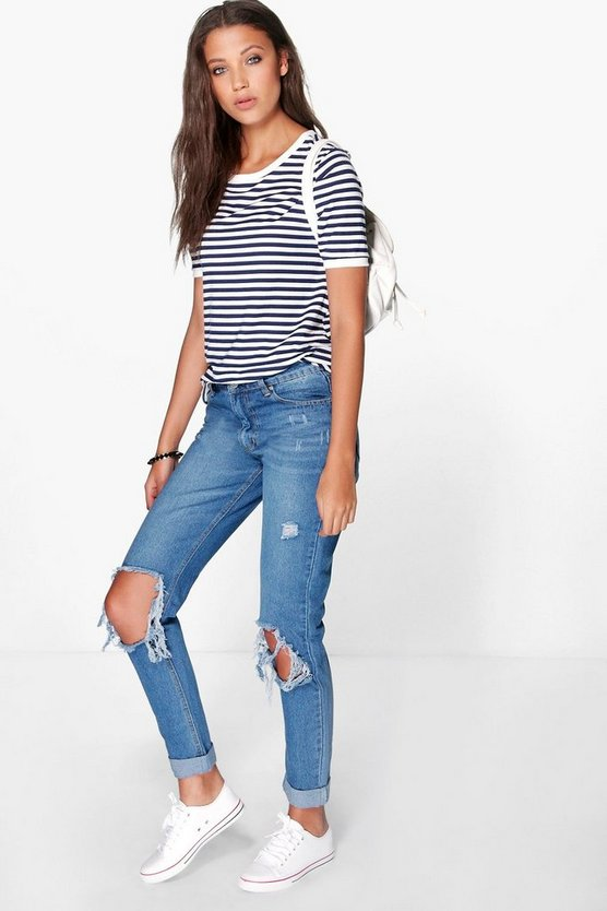 Tall Jenny Open Knee Slim Leg Boyfriend Jean