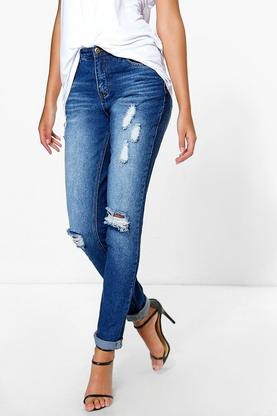 Tall Claudia Distressed Ripped Knee Skinny Jean