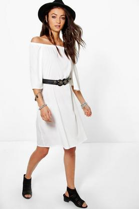 Tall Sally Longline Off The Shoulder Tunic Woven Dress