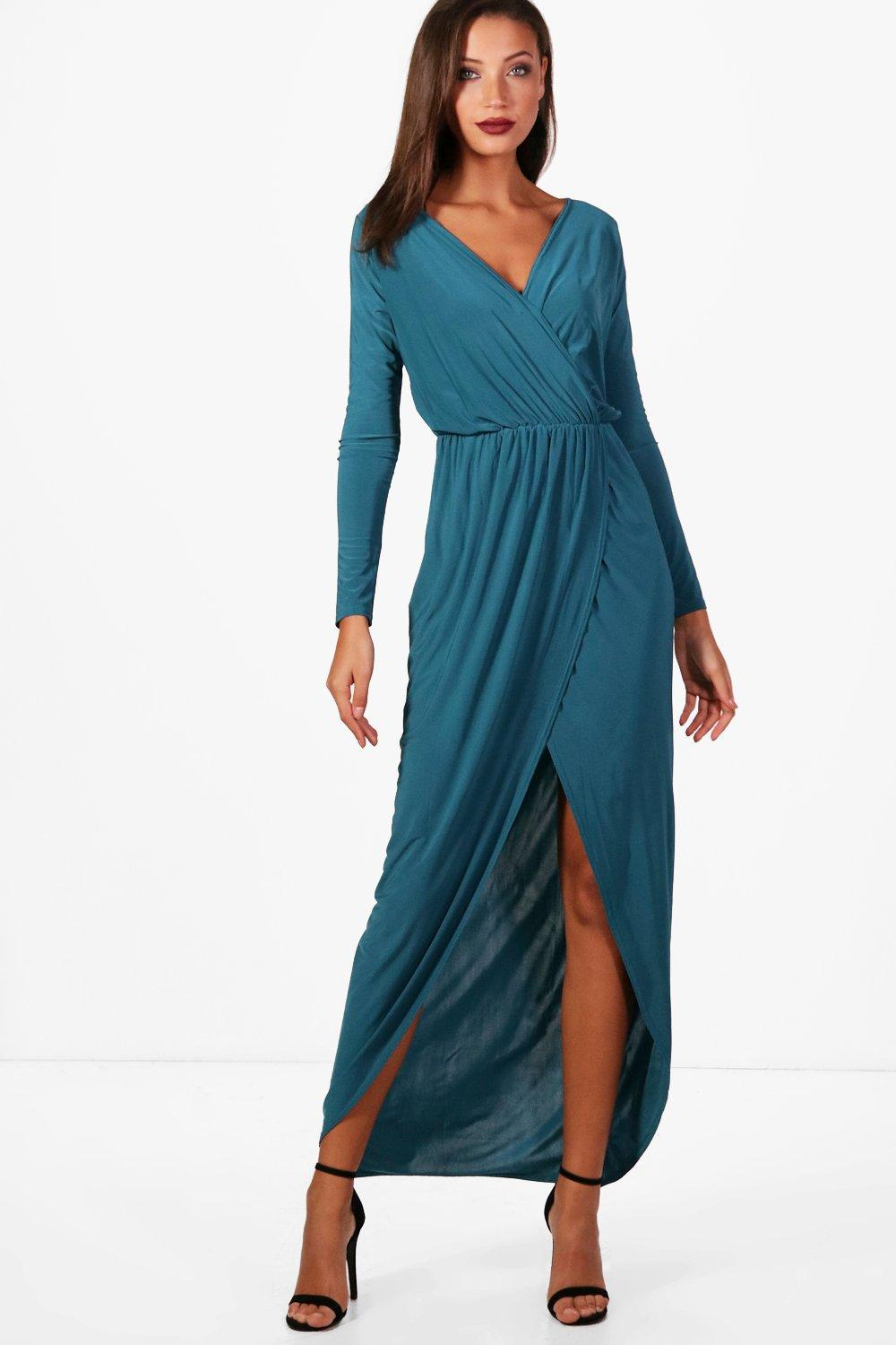 Abra Slinky Wrap Maxi Dress teal