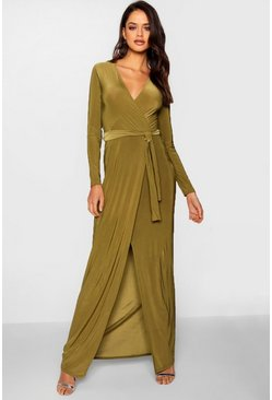 Tall Cleo Wrap Front Slinky Maxi Dress