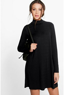 Tall Vera Long Sleeve Roll Neck Swing Dress