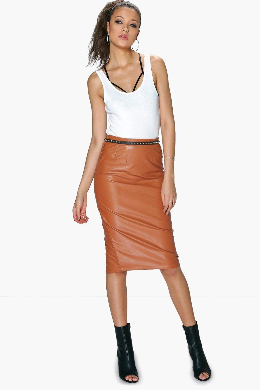 Tall Skye Pu Midi Skirt