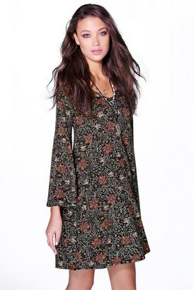 Tall Lilly Printed Wide Sleeve Deep V Dress