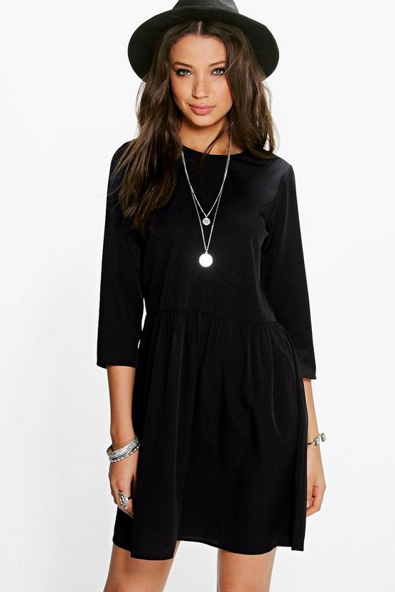 Tall Ria Long Sleeve Drop Hem Woven Dress