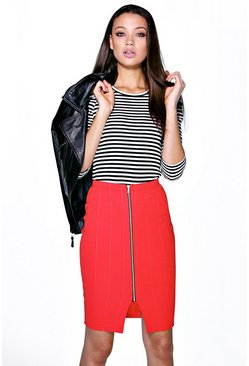 Tall Claudia Zip Front Midi Skirt