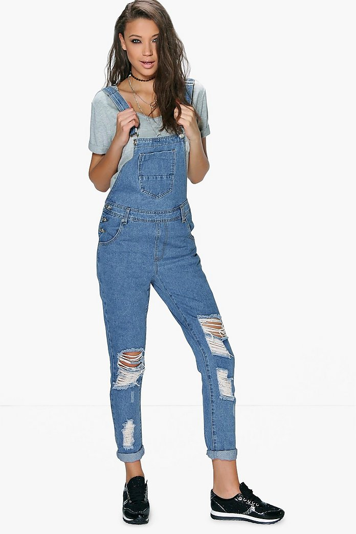 Tall Zala Ripped Knee Denim Dungaree