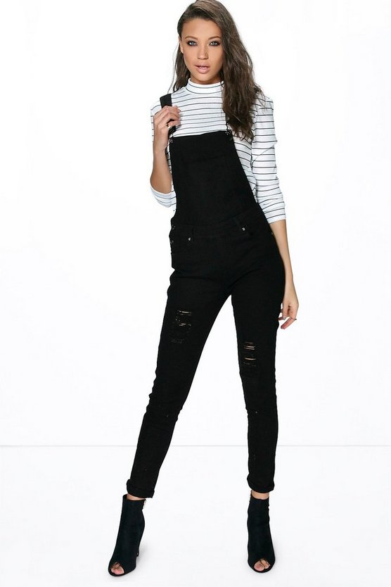 Tall Aria Long Distressed Denim Dungaree
