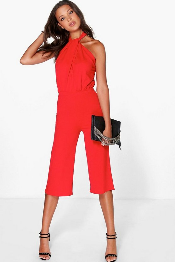Tall Dora Twist Neck Culotte Jumpsuit