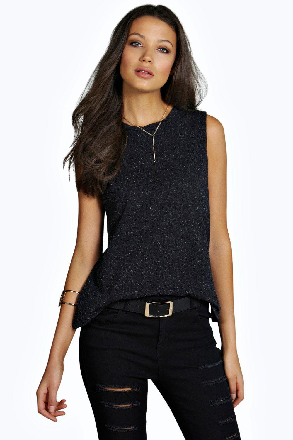 Tall Zayla Oversized Sleeveless Nepp Tee