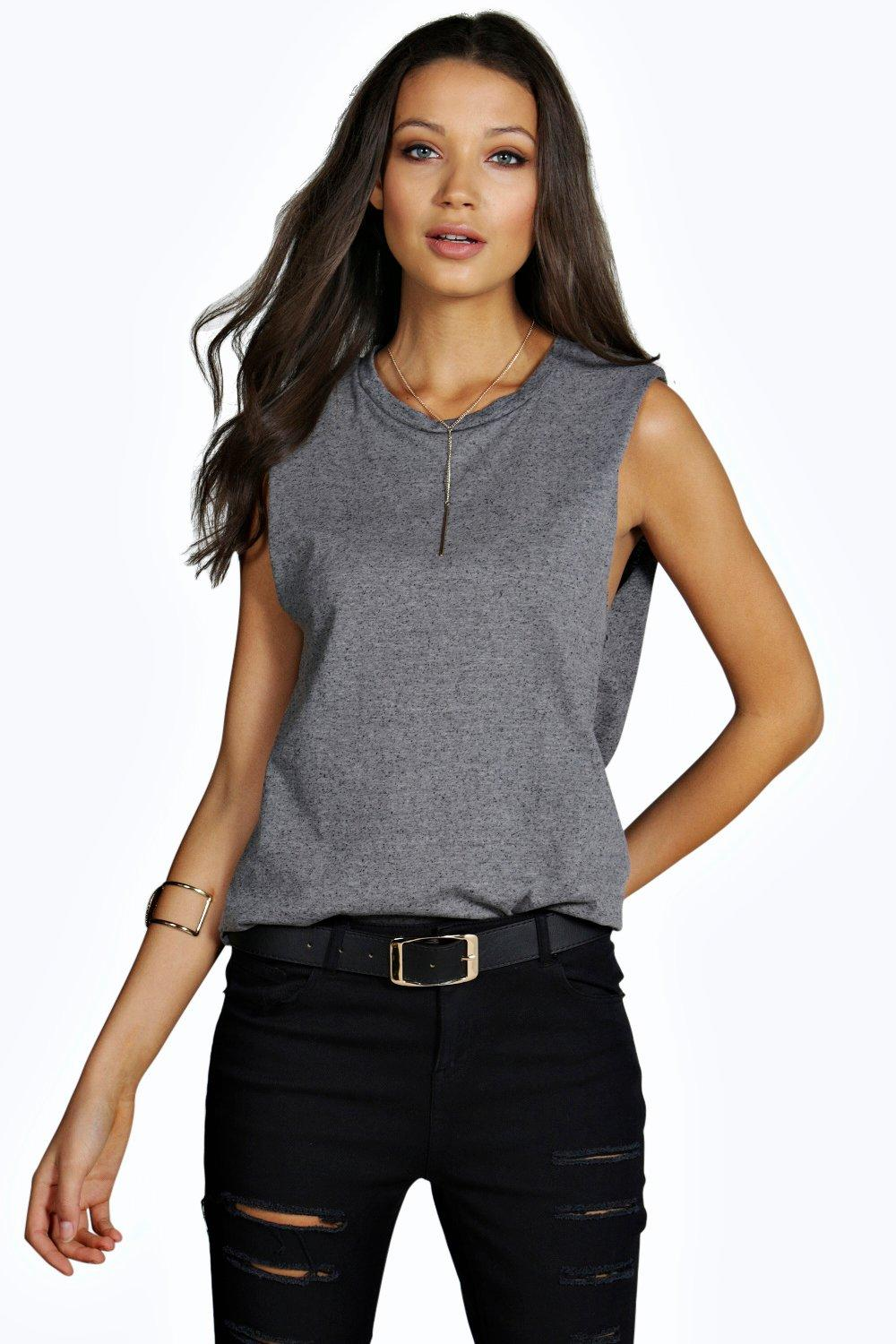 Zayla Oversized Sleeveless Nepp Tee  grey