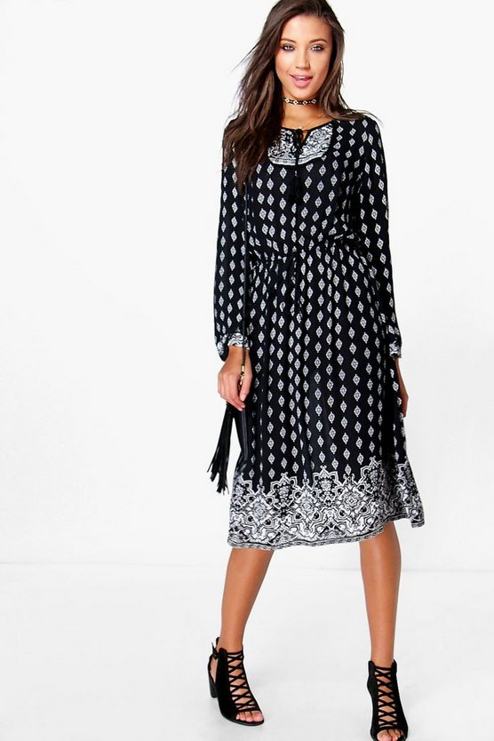 Tall Zelda Placement Print Midi Dress
