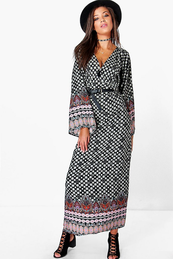 Tall Anna Woven Wide Sleeve Maxi Dress