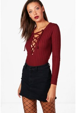 Tall Maisie Ribbed Lace Up Bodysuit