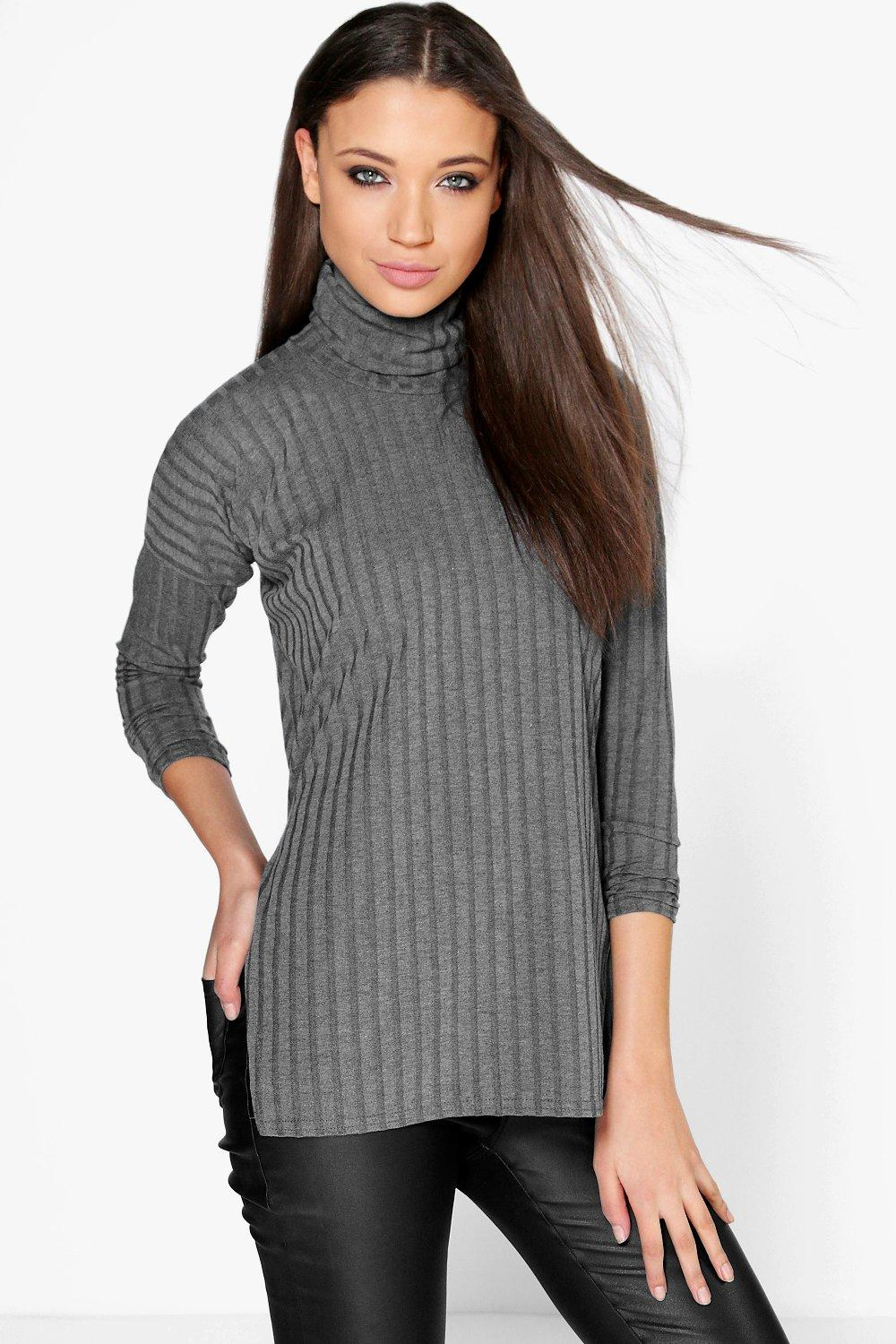 Tall Rhona Large Rib Oversized Roll Neck Top