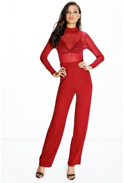 Tall Naomi Mesh High Neck Jumpsuit