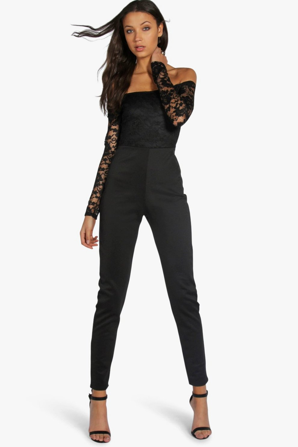 Buy Cheap Nicekicks Perfect Cheap Online Boohoo Tall Lace Off The Shoulder Jumpsuit Outlet Locations YTsqOP