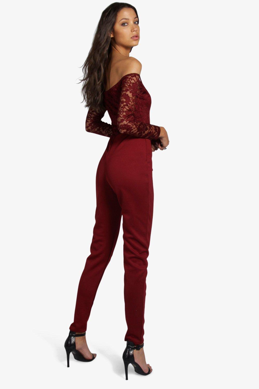 boohoo damen tall kami spitzen jumpsuit mit bardot ausschnitt ebay. Black Bedroom Furniture Sets. Home Design Ideas